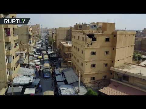 فلسطين اليوم - شاهد لحظة وصول المساعدات الإنسانية من إيران إلى دير الزور