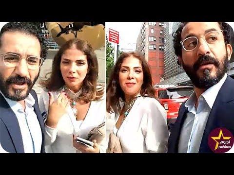 فلسطين اليوم - شاهد أحمد حلمي ومنى زكي خلال وجودهما أمام مبنى الأمم المتحدة