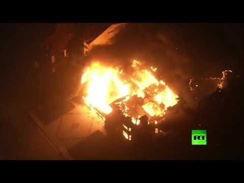 شاهد  حريق كامب فاير يلتهم مقاطعة في كاليفورنيا