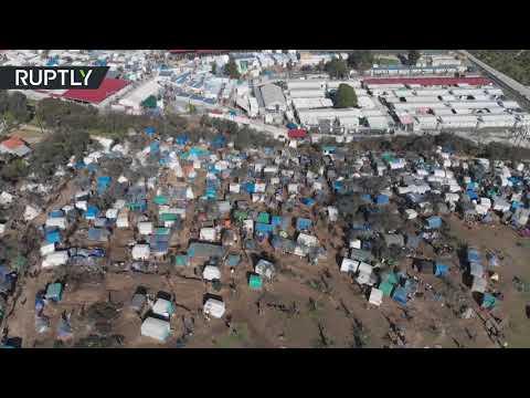 شاهد لقطات جوية لـجحيم مخيم موريا في جزيرة ليسبوس اليونانية