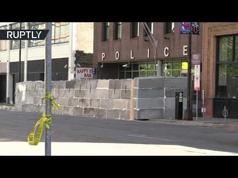 جدار خرساني يُحيط بمركز شرطة مينيابوليس الأميركية