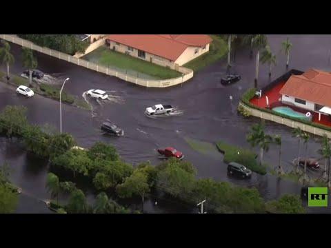 شاهد عاصفة إيتا تغرق شوارع ولاية فلوريدا الأميركية بالسيول