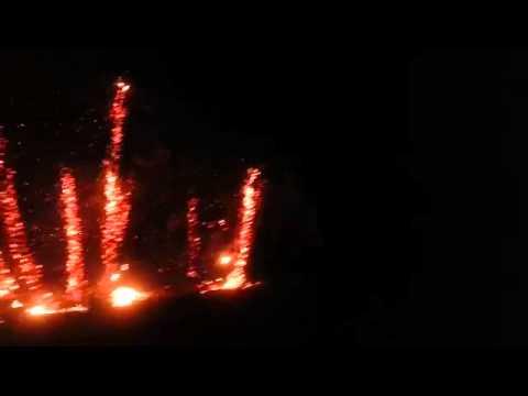اشتعال النيران في عشرات النخيل بسبب عاصفة رعدية  في القويز