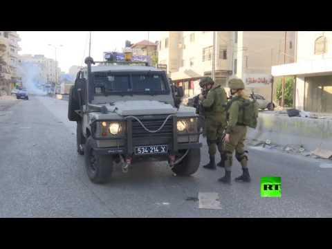 فلسطين اليوم - شاهد الجيش الإسرائيلي يستخدم الغاز المسيل للدموع ضد المتظاهرين