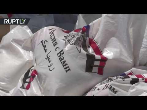 فلسطين اليوم - شاهد وصول أول قافلة من المساعدات إلى الغوطة الشرقية