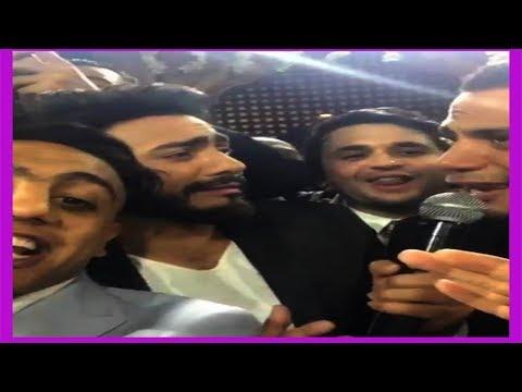 فلسطين اليوم - بالفيديو  أوس أوس ومصطفى خاطر يرقصان بطريقة كوميدية مع تامر حسني