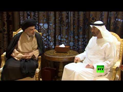 فلسطين اليوم - شاهد ولي عهد أبوظبي يستقبل زعيم التيار الصدري العراقي بحفاوة