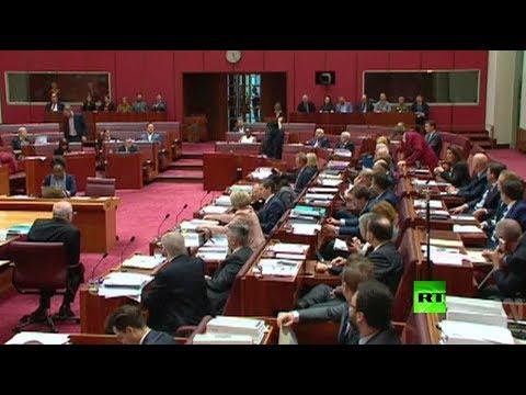 فلسطين اليوم - شاهد برلمانية أسترالية يمينية ترتدى البرقع في البرلمان
