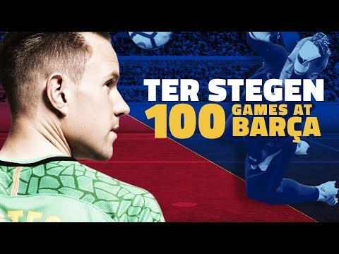 فلسطين اليوم - احتفالية برشلونة بخوض تير شتيغن 100 مباراة معه