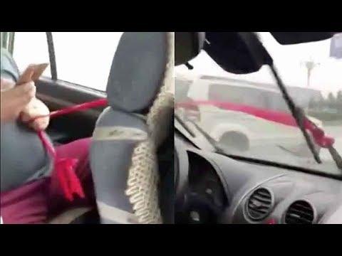 فلسطين اليوم - شاهد طريقة صينية لتشغيل مساحات السيارة أثناء الأمطار