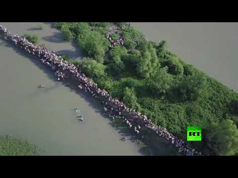 فلسطين اليوم - شاهد طائرة من دون طيار تراقب نزوح الآلاف من الروهينغا من ميانمار