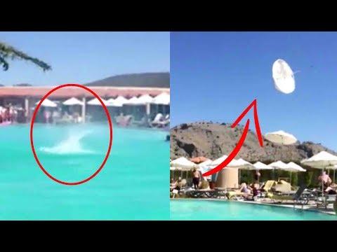 فلسطين اليوم - شاهد إعصار صغير يستعرض قوته أمام رواد حمام سباحة في اليونان