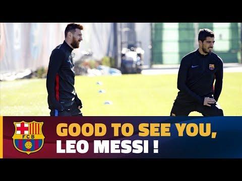 شاهد ليونيل ميسى يعود إلى تدريبات برشلونة