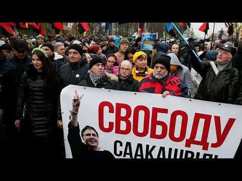 شاهد آلاف المؤيدين لساكاشفيلي يطالبون بإطلاق سراحه