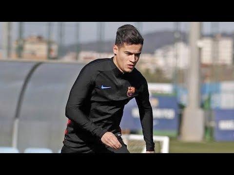 أول حصة تدريبية لكوتينيو مع برشلونة