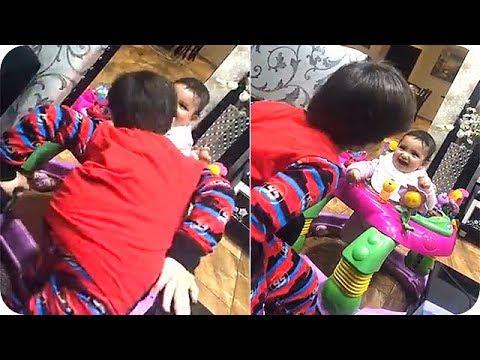 غزل ابنة دنيا بطمة تلعب مع أخوها عبد الله الترك