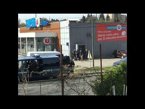 شاهد إطلاق نار واحتجاز رهائن في متجر سوبر يو في تريب جنوب فرنسا