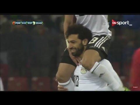 شاهد  محمد صلاح يحرز الهدف الأول لمنتخب مصر في مرمى البرتغال