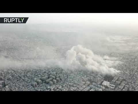 شاهد لحظة قصف الجيش السوري مواقع داعش في مخيّم اليرموك