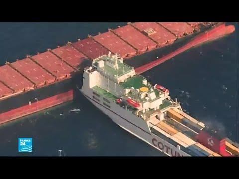 تسرّب وقود في البحر المتوسط إثر حادث تصادم بين سفينتين