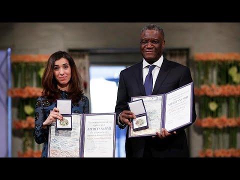 شاهد لحظة تسلّم نادية مراد ودنيس مكويجي جائزة نوبل للسلام