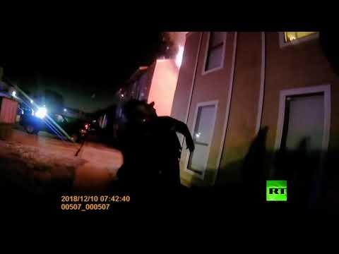 شاهد  ضابط شرطة أميركي ينقذ حياة طفل في ولاية تكساس