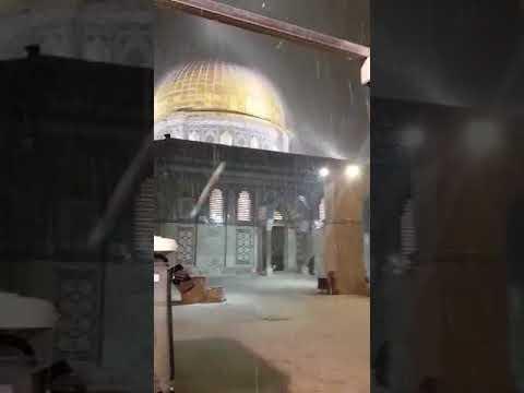 شاهد الأمطار تغسل قبة الصخرة والمسجد الأقصى