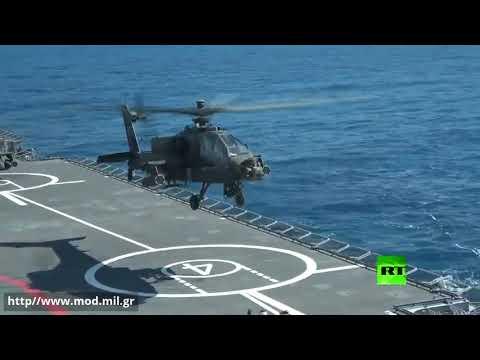 شاهد اللقطات الأولى لإقلاع المروحيات الهجومية من حاملة ميسترال في البحر المتوسط