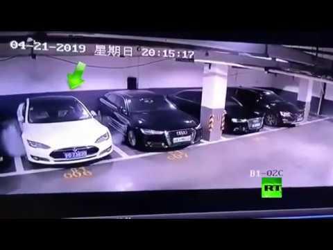 شاهد لحظة انفجار سيارة تسلا