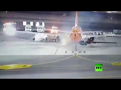 احتراق عجلة طائرة وتصرف احترافي من الموظفين في شرم الشيخ
