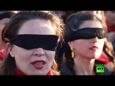 شاهد آلاف النساء في العاصمة التشيلية تصدح أصواتهن بأغنية ضد الاغتصاب