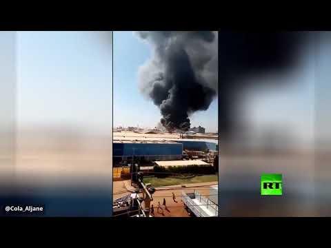 فيديو جديد للحريق الهائل في مصنع في الخرطوم