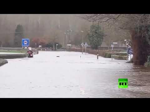 شاهد الفيضانات تجتاح مناطق مختلفة من بريطانيا بسبب العاصفة دينيس