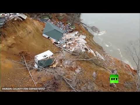 شاهد لحظة انهيار منزلين في أحد المقاطعات الأميركية في ثوان عدة
