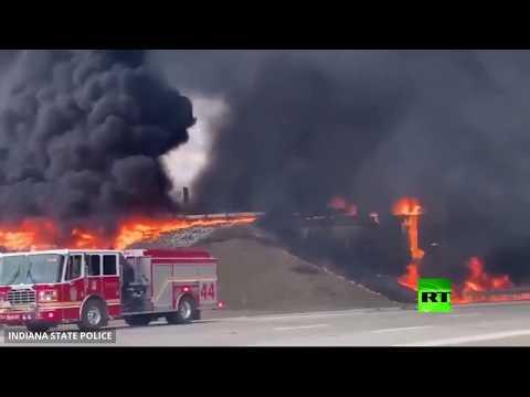 شاهد انفجار صهريج ينقل وقود النفاثات