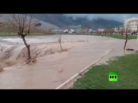 شاهد سيول في مدينة خرم آباد غرب إيران
