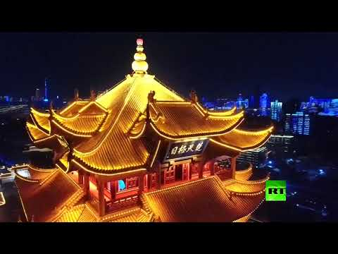 شاهد إضاءة سماء ووهان الصينية احتفالًا برفع حظر السفر