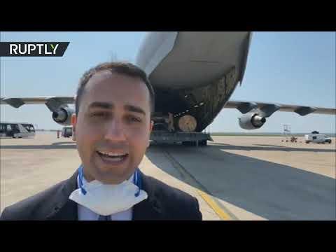 شاهد طائرة مساعدات قطرية تهبط في قاعدة براتيكا الإيطالية