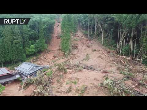 شاهد لقطات جوية لانهيارات أرضية في اليابان