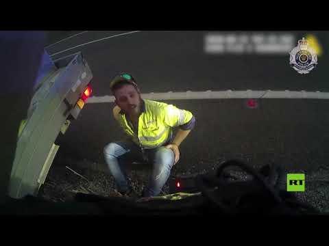 شاهد أسترالي يفلت من مخالفة السرعة بعد معركة مع ثعبان في السيارة