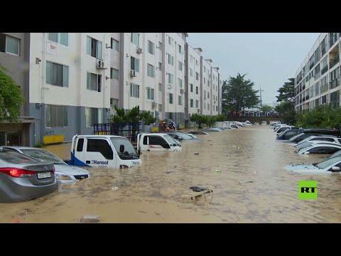 فيضانات تغمر شوارع دايجون الكورية وتدمر مئات المنازل فيها