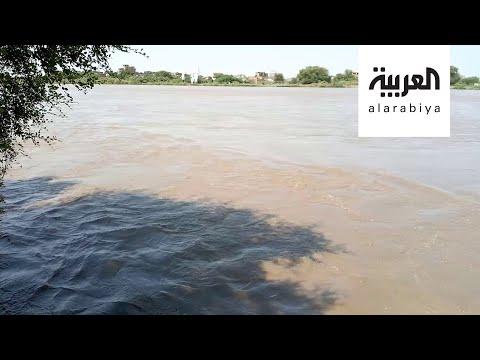 لقطات مُثيرة تظهر ارتفاع منسوب النيل الأزرق في السودان