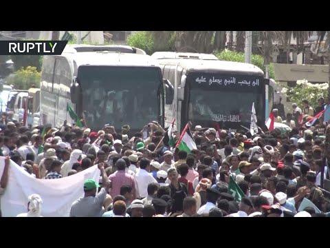 شاهد مراسم استقبال لأسرى الحوثيين المحررين في الحديدة