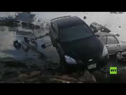شاهد زلزال مُميت يتسبب في فيضانات بمقاطعة إزمير التركية