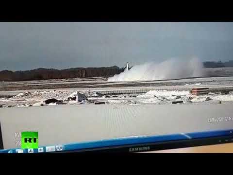 لحظة هبوط اضطراري لطائرة شحن في نوفوسيبيرسك الروسية